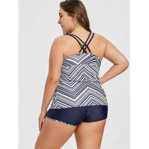 Geometric Plus Size Criss-Cross Boyleg Tankini Set -