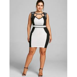 Plus Size Two Tone Sleeveless Hourglass Dress -