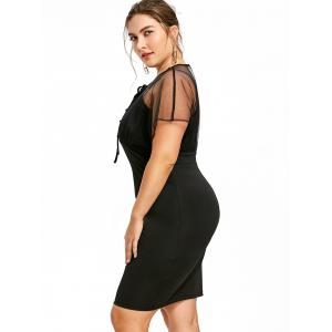 Plus Size Sheer Empire Waist Fitted Dress -