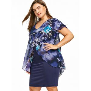 Plus Size Flutter Sleeve Knee Length Fitted Dress -