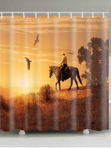 Latest Sunset Horse Rider Printed Showerproof Bath Curtain