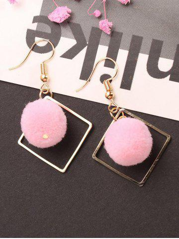 Chic Hair Ball Hollow Square Dangle Earrings