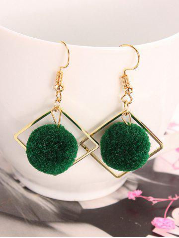 Discount Hair Ball Hollow Square Dangle Earrings