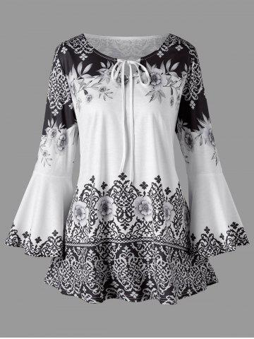 Outfit Plus Size Print Flare Sleeve T-shirt
