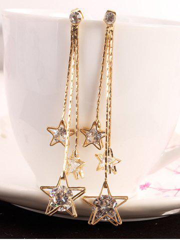 Cheap Long Chain Star Fringed Faux Diamond Dangle Earrings
