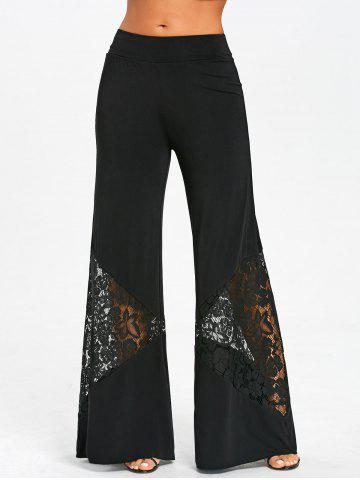 Affordable Lace Panel Wide Leg Pants