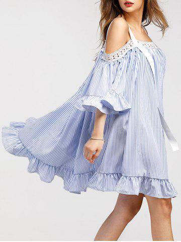 Store Cold Shoulder Mini Vertical Stripe Dress