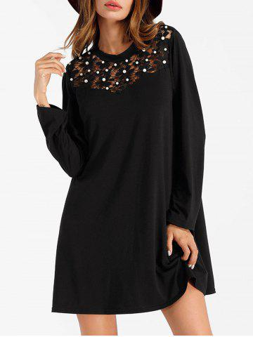 New Long Sleeve Mini Shift Dress with Pearl
