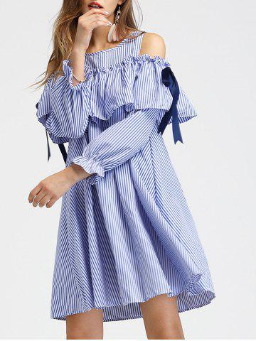 Shops Cold Shoulder Long Sleeve Striped Dress