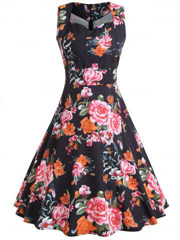 Chic Floral Print Sleeveless Vintage Dress
