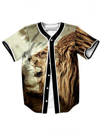 Button Up Roaring Lion 3D Impression Baseball Jersey