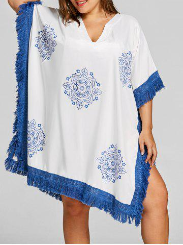 Latest Plus Size Mandala Print Tassel Cover Up