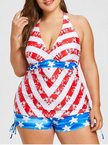Fashion Plus Size American Flag Halter Tankini Set
