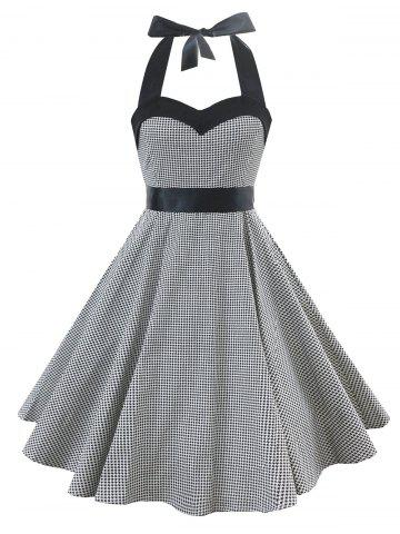 Store Vintage Lace Up Houndstooth Dress