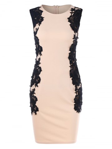 Hot Lace Panel Sleeveless Bodycon Dress
