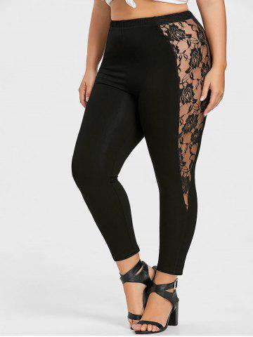 Fancy Plus Size Lace Trim Ankle Leggings