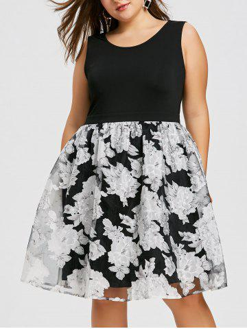 Shops Plus Size Floral Sleeveless Skater Dress