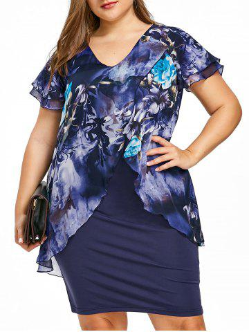 Unique Plus Size Flutter Sleeve Knee Length Fitted Dress