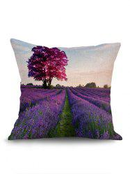 Tree Lavender Filesds Print Pillow Case -