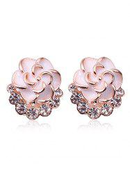 Faux Diamond Enamel Floral Jewelry Earrings -