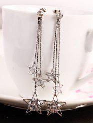 Long Chain Star Fringed Faux Diamond Dangle Earrings -