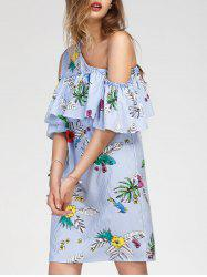 Tropical and Stripe Print Cold Shoulder Dress -