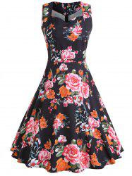 Floral Print Sleeveless Vintage Dress -
