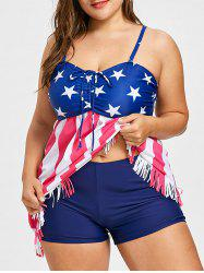 Plus Size Striped Star Print Tankini Set -
