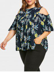 Pineapple Plus Size Cutout Shoulder Smock Blouse -