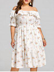 Flower Plus Size Midi Overlay Dress -