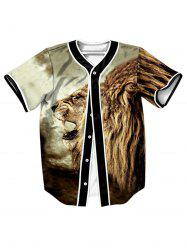 Button Up Roaring Lion 3D Impression Baseball Jersey -