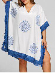 Plus Size Mandala Print Tassel Cover Up -