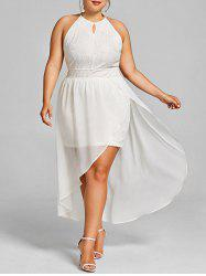 Plus Size Keyhole Neck Asymmetric Lace Dress -