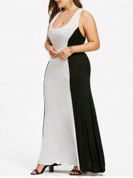Plus Size Two Tone Long Evening Dress -