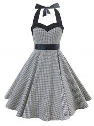 Vintage Lace Up Houndstooth Dress -