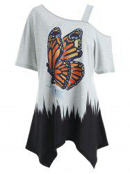 T-Shirt Mouchoir Tunique à Imprimé Papillon - Gris M