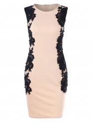 Lace Panel Sleeveless Bodycon Dress -