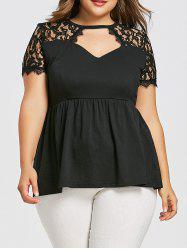 Lace Insert Plus Size Smock T-shirt -
