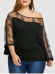 Plus Size Lace Trim Skew Collar Blouse -