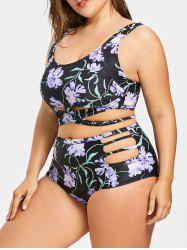 Retro Plus Size Cutout High Waisted Bikini -