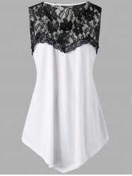 Plus Size Lace Trim Color Block Tank Top -