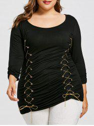 Plus Size Contrast Lace Up T-shirt -
