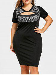Plus Size Keyhole Front Chevron Pencil Dress -