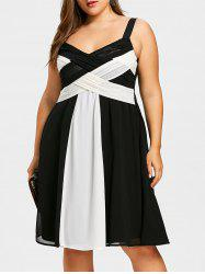 Plus Size Two Tone Criss Cross Dress -