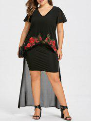Plus Size Embroidery Overlay High Low Dress -