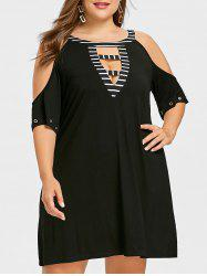 Plus Size Cutout Shoulder T-shirt Dress -