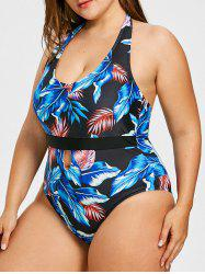 Plus Size Leaf Print Halter Swimwear -