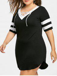 Plus Size Mini Casual Dress -