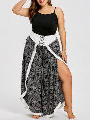 Plus Size Baroque Print High Slit Palazzo Pants -