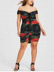 Plus Size Floral Ruched Off The Shoulder Dress -
